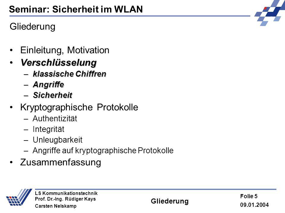 Seminar: Sicherheit im WLAN 09.01.2004 Folie 5 LS Kommunikationstechnik Prof. Dr.-Ing. Rüdiger Kays Carsten Nelskamp Gliederung Einleitung, Motivation
