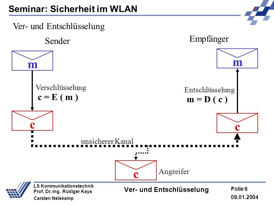 Seminar: Sicherheit im WLAN 09.01.2004 Folie 6 LS Kommunikationstechnik Prof. Dr.-Ing. Rüdiger Kays Carsten Nelskamp Ver- und Entschlüsselung Verschlü
