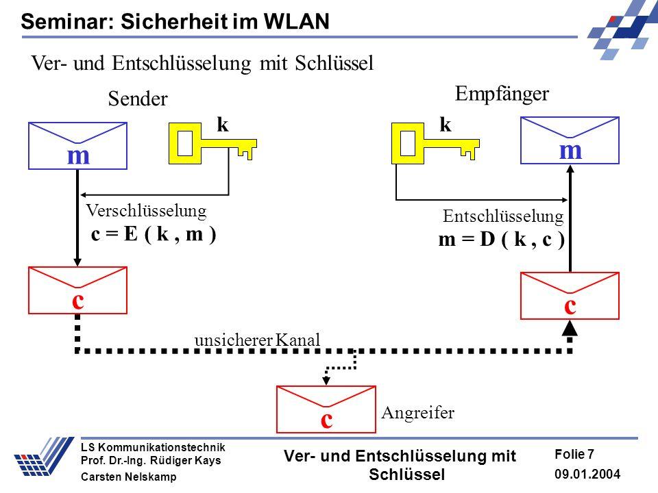 Seminar: Sicherheit im WLAN 09.01.2004 Folie 7 LS Kommunikationstechnik Prof. Dr.-Ing. Rüdiger Kays Carsten Nelskamp Ver- und Entschlüsselung mit Schl