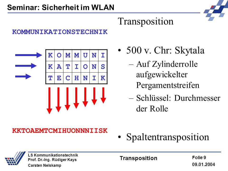 Seminar: Sicherheit im WLAN 09.01.2004 Folie 9 LS Kommunikationstechnik Prof. Dr.-Ing. Rüdiger Kays Carsten Nelskamp Transposition 500 v. Chr: Skytala