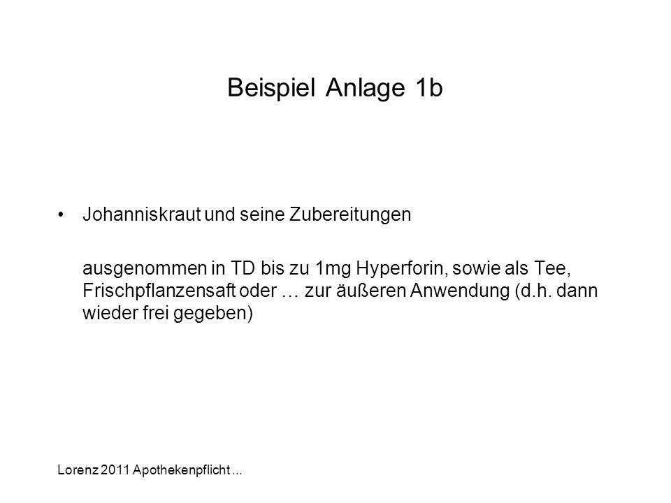 Lorenz 2011 Apothekenpflicht... Beispiel Anlage 1b Johanniskraut und seine Zubereitungen ausgenommen in TD bis zu 1mg Hyperforin, sowie als Tee, Frisc
