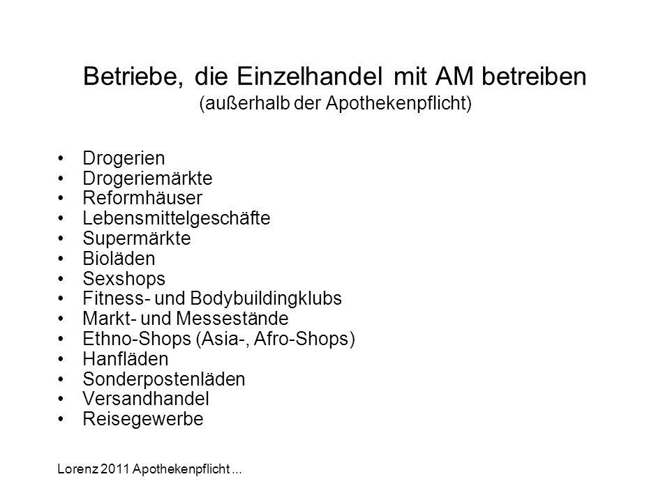Lorenz 2011 Apothekenpflicht... Betriebe, die Einzelhandel mit AM betreiben (außerhalb der Apothekenpflicht) Drogerien Drogeriemärkte Reformhäuser Leb