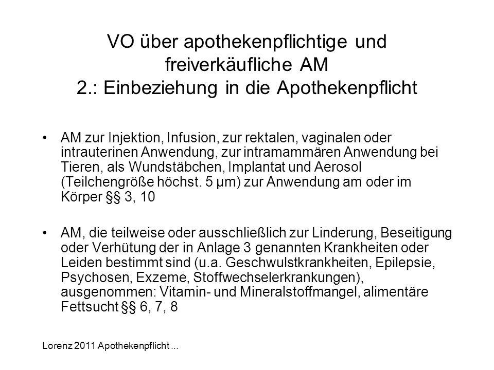 Lorenz 2011 Apothekenpflicht... VO über apothekenpflichtige und freiverkäufliche AM 2.: Einbeziehung in die Apothekenpflicht AM zur Injektion, Infusio