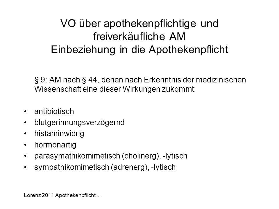 Lorenz 2011 Apothekenpflicht... VO über apothekenpflichtige und freiverkäufliche AM Einbeziehung in die Apothekenpflicht § 9: AM nach § 44, denen nach