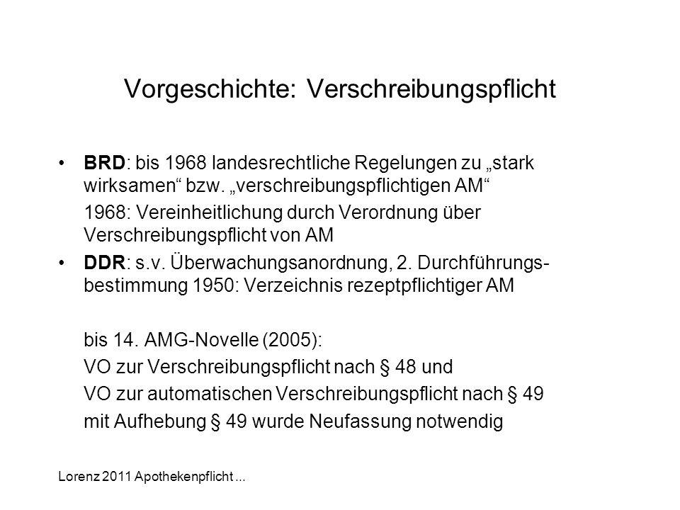 Lorenz 2011 Apothekenpflicht... Vorgeschichte: Verschreibungspflicht BRD: bis 1968 landesrechtliche Regelungen zu stark wirksamen bzw. verschreibungsp