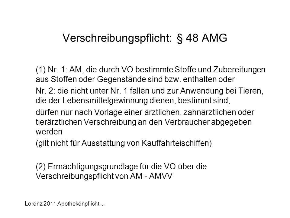 Lorenz 2011 Apothekenpflicht... Verschreibungspflicht: § 48 AMG (1) Nr. 1: AM, die durch VO bestimmte Stoffe und Zubereitungen aus Stoffen oder Gegens