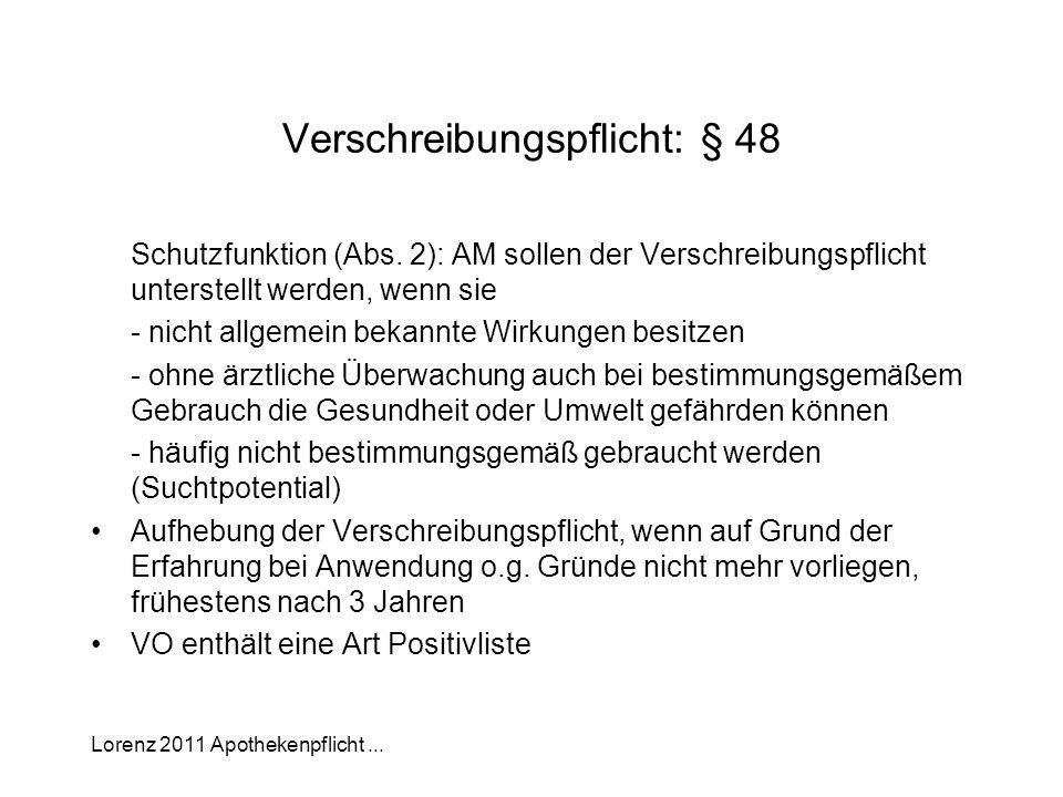 Lorenz 2011 Apothekenpflicht... Verschreibungspflicht: § 48 Schutzfunktion (Abs. 2): AM sollen der Verschreibungspflicht unterstellt werden, wenn sie
