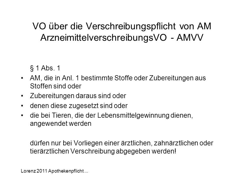 Lorenz 2011 Apothekenpflicht... VO über die Verschreibungspflicht von AM ArzneimittelverschreibungsVO - AMVV § 1 Abs. 1 AM, die in Anl. 1 bestimmte St