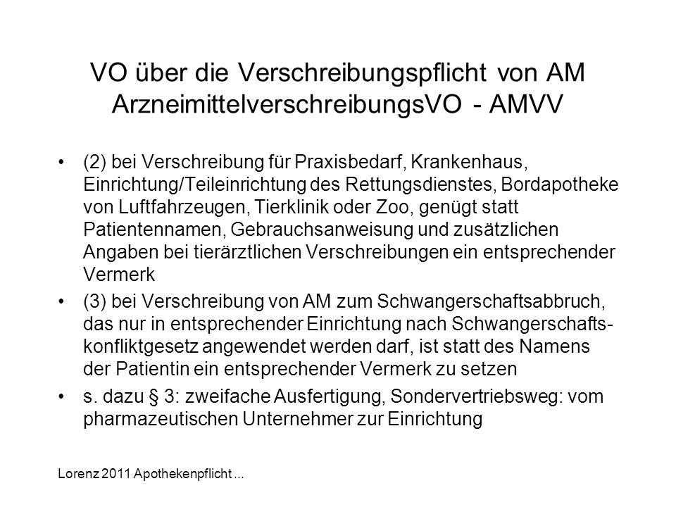 Lorenz 2011 Apothekenpflicht... VO über die Verschreibungspflicht von AM ArzneimittelverschreibungsVO - AMVV (2) bei Verschreibung für Praxisbedarf, K