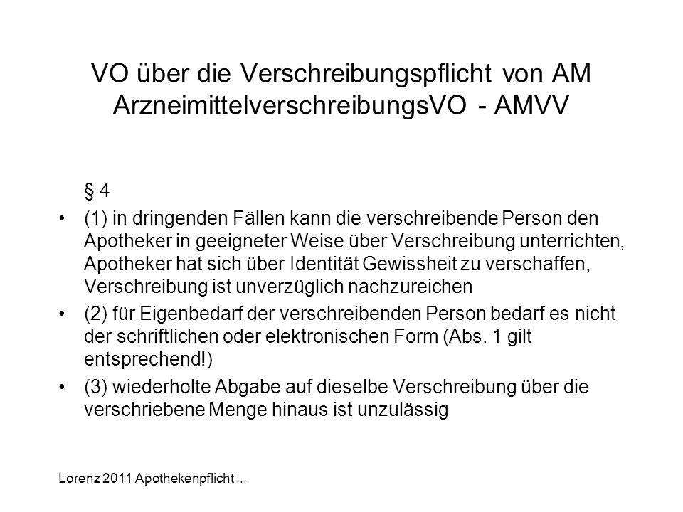 Lorenz 2011 Apothekenpflicht... VO über die Verschreibungspflicht von AM ArzneimittelverschreibungsVO - AMVV § 4 (1) in dringenden Fällen kann die ver