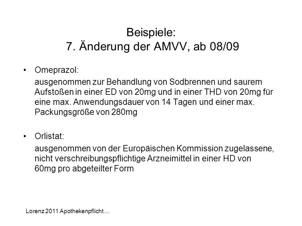 Lorenz 2011 Apothekenpflicht... Beispiele: 7. Änderung der AMVV, ab 08/09 Omeprazol: ausgenommen zur Behandlung von Sodbrennen und saurem Aufstoßen in