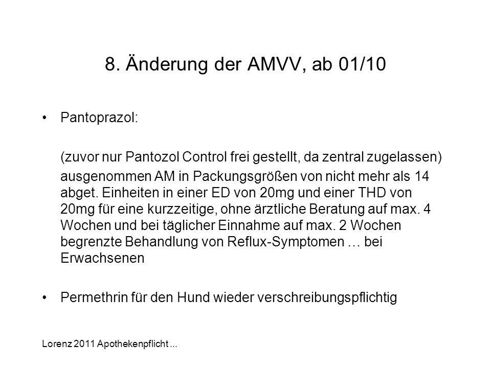 Lorenz 2011 Apothekenpflicht... 8. Änderung der AMVV, ab 01/10 Pantoprazol: (zuvor nur Pantozol Control frei gestellt, da zentral zugelassen) ausgenom