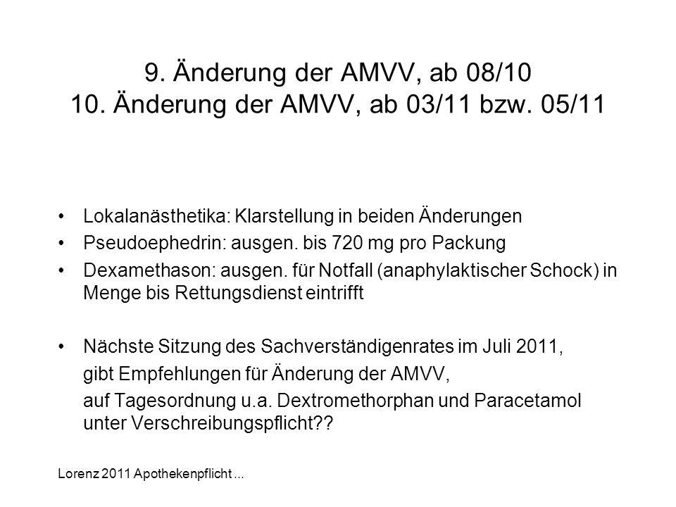 Lorenz 2011 Apothekenpflicht... 9. Änderung der AMVV, ab 08/10 10. Änderung der AMVV, ab 03/11 bzw. 05/11 Lokalanästhetika: Klarstellung in beiden Änd