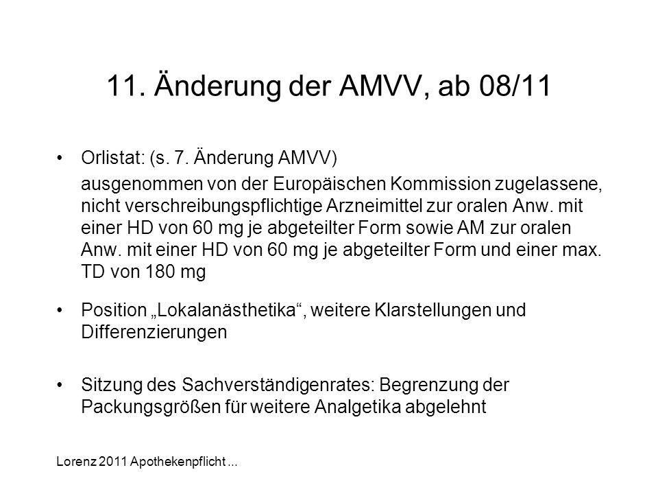 Lorenz 2011 Apothekenpflicht... 11. Änderung der AMVV, ab 08/11 Orlistat: (s. 7. Änderung AMVV) ausgenommen von der Europäischen Kommission zugelassen