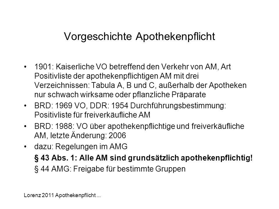 Lorenz 2011 Apothekenpflicht... Vorgeschichte Apothekenpflicht 1901: Kaiserliche VO betreffend den Verkehr von AM, Art Positivliste der apothekenpflic
