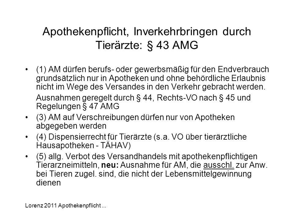 Lorenz 2011 Apothekenpflicht... Apothekenpflicht, Inverkehrbringen durch Tierärzte: § 43 AMG (1) AM dürfen berufs- oder gewerbsmäßig für den Endverbra
