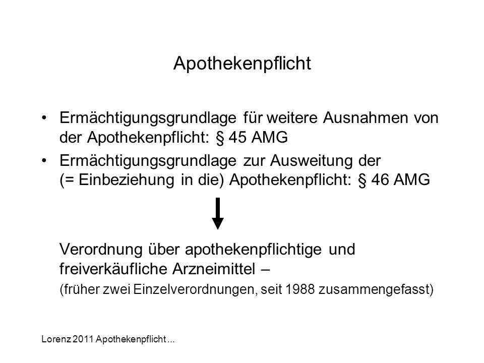 Lorenz 2011 Apothekenpflicht... Apothekenpflicht Ermächtigungsgrundlage für weitere Ausnahmen von der Apothekenpflicht: § 45 AMG Ermächtigungsgrundlag