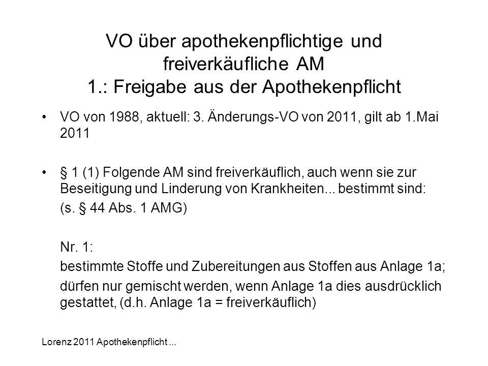 Lorenz 2011 Apothekenpflicht... VO über apothekenpflichtige und freiverkäufliche AM 1.: Freigabe aus der Apothekenpflicht VO von 1988, aktuell: 3. Änd