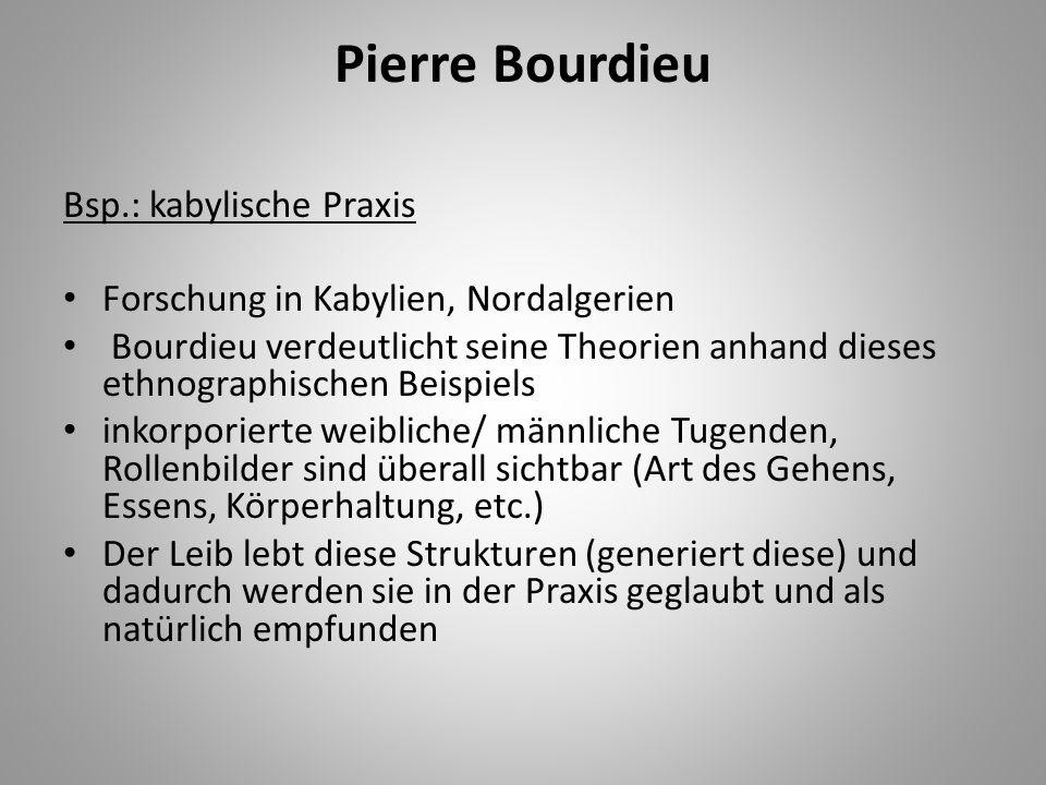 Pierre Bourdieu Bsp.: kabylische Praxis Forschung in Kabylien, Nordalgerien Bourdieu verdeutlicht seine Theorien anhand dieses ethnographischen Beispi