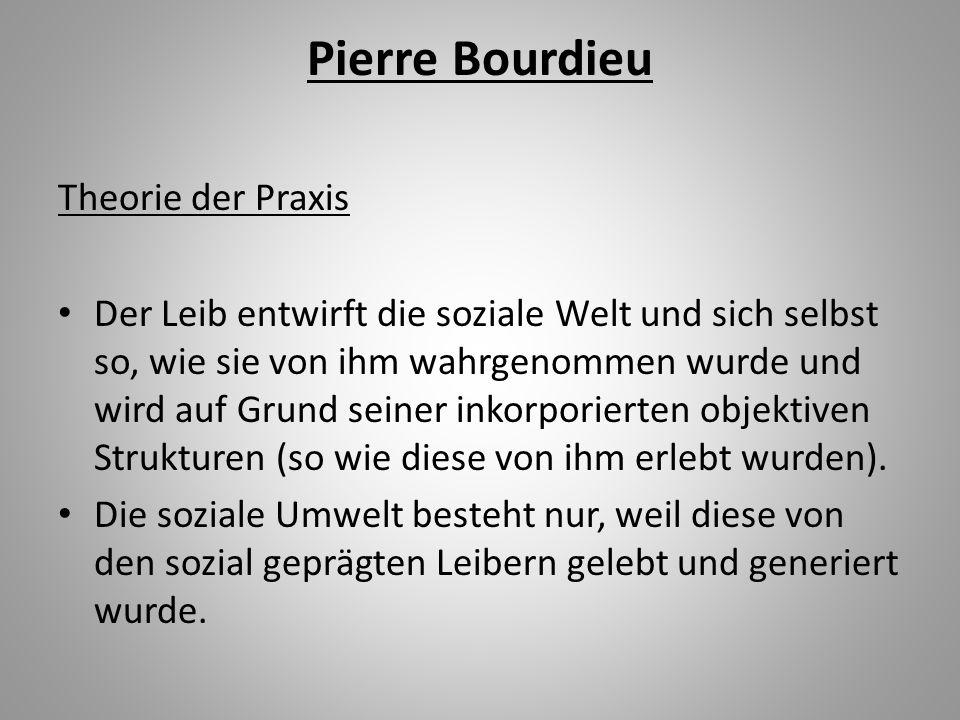 Pierre Bourdieu Theorie der Praxis Der Leib entwirft die soziale Welt und sich selbst so, wie sie von ihm wahrgenommen wurde und wird auf Grund seiner