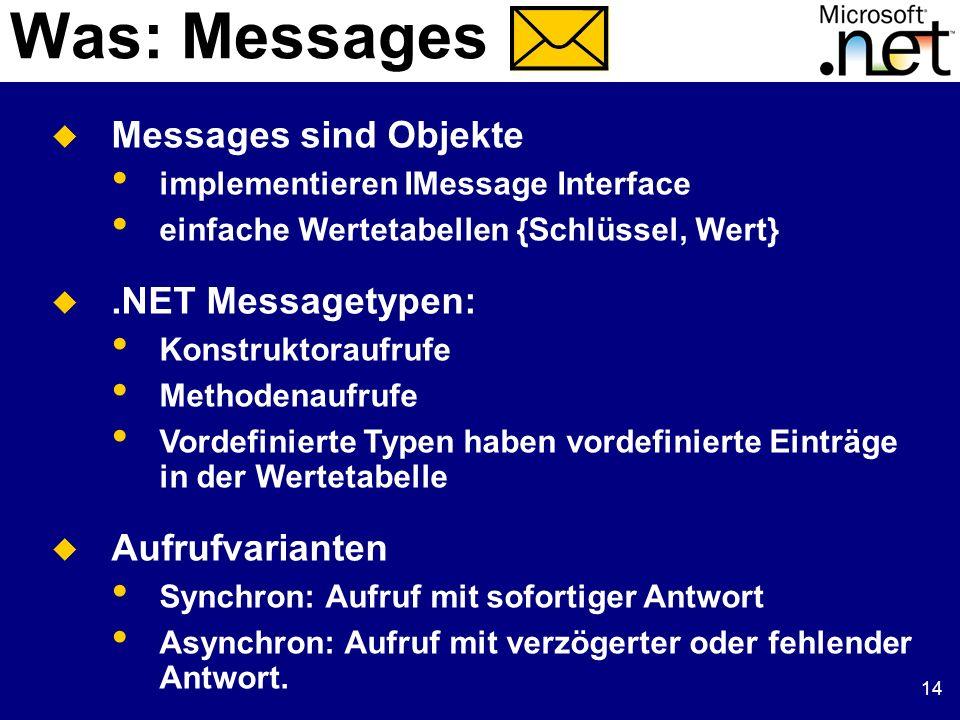 14 Was: Messages Messages sind Objekte implementieren IMessage Interface einfache Wertetabellen {Schlüssel, Wert}.NET Messagetypen: Konstruktoraufrufe