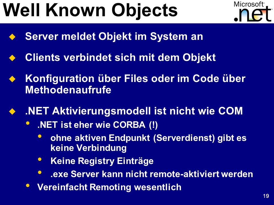 19 Server meldet Objekt im System an Clients verbindet sich mit dem Objekt Konfiguration über Files oder im Code über Methodenaufrufe.NET Aktivierungs