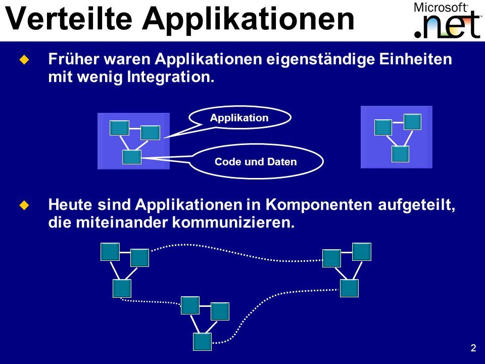 2 Verteilte Applikationen Früher waren Applikationen eigenständige Einheiten mit wenig Integration. Heute sind Applikationen in Komponenten aufgeteilt