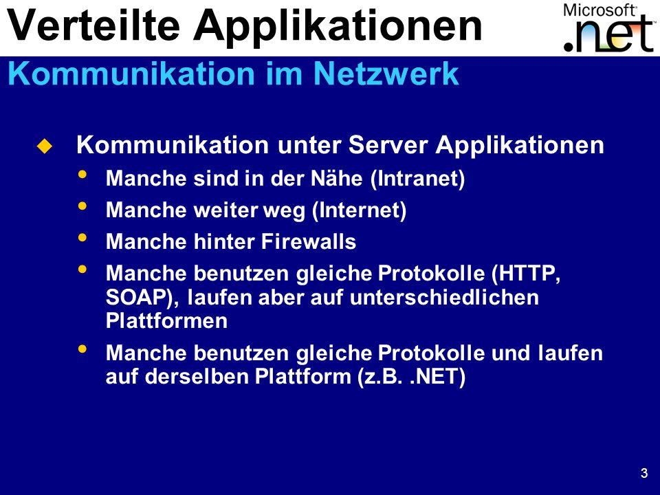 3 Kommunikation unter Server Applikationen Manche sind in der Nähe (Intranet) Manche weiter weg (Internet) Manche hinter Firewalls Manche benutzen gle