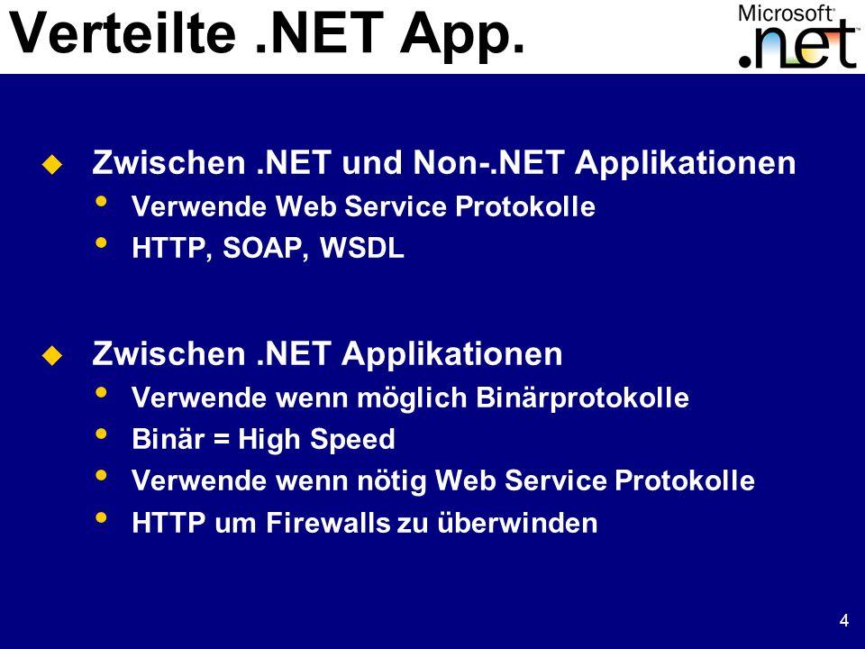 4 Zwischen.NET und Non-.NET Applikationen Verwende Web Service Protokolle HTTP, SOAP, WSDL Zwischen.NET Applikationen Verwende wenn möglich Binärproto