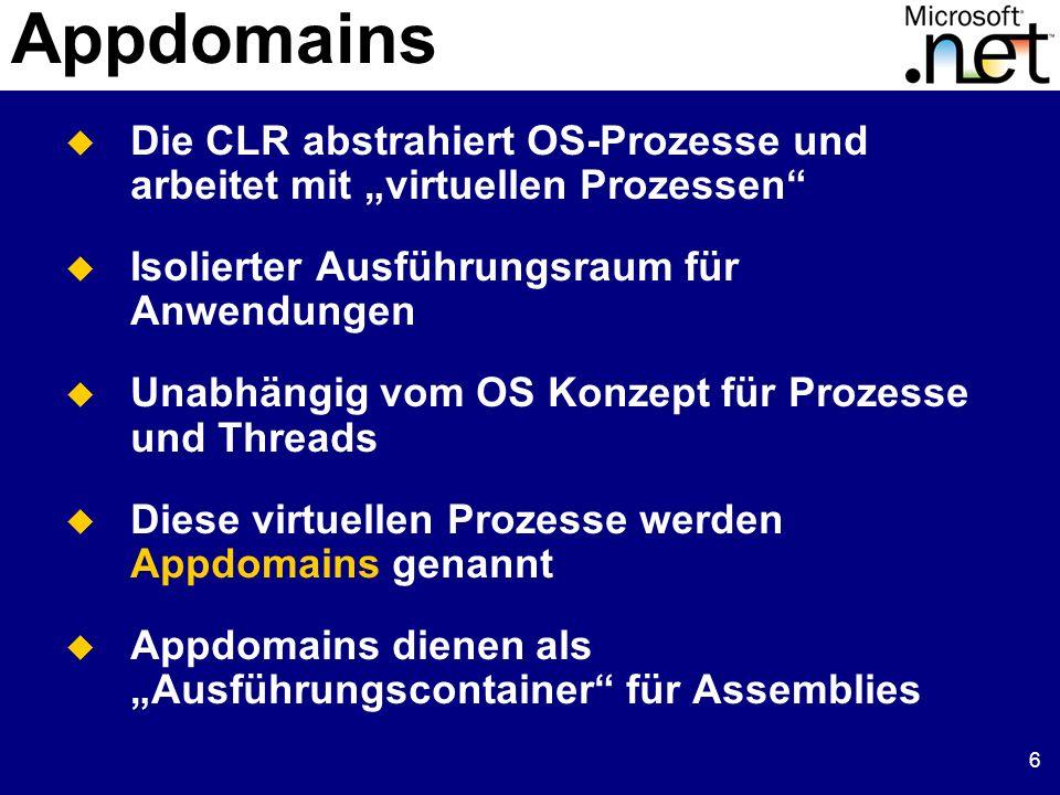 6 Appdomains Die CLR abstrahiert OS-Prozesse und arbeitet mit virtuellen Prozessen Isolierter Ausführungsraum für Anwendungen Unabhängig vom OS Konzep