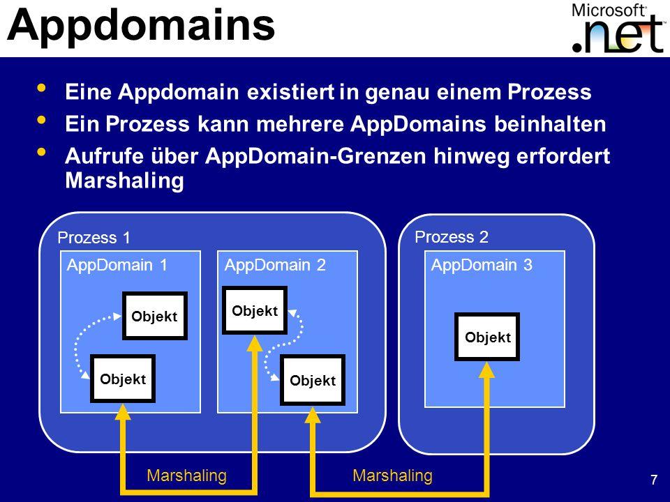 7 Appdomains Eine Appdomain existiert in genau einem Prozess Ein Prozess kann mehrere AppDomains beinhalten Aufrufe über AppDomain-Grenzen hinweg erfo