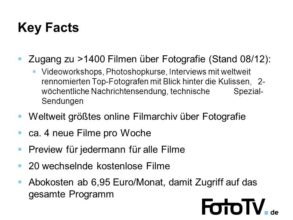 Key Facts Zugang zu >1400 Filmen über Fotografie (Stand 08/12): Videoworkshops, Photoshopkurse, Interviews mit weltweit rennomierten Top-Fotografen mit Blick hinter die Kulissen, 2- wöchentliche Nachrichtensendung, technische Spezial- Sendungen Weltweit größtes online Filmarchiv über Fotografie ca.