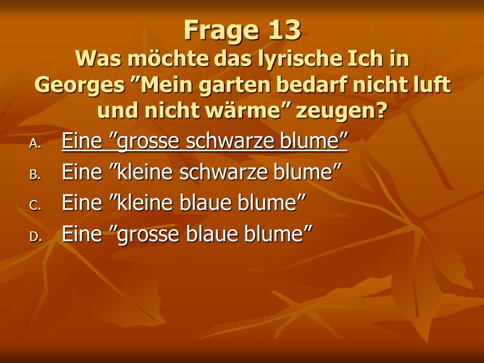 Frage 13 Was möchte das lyrische Ich in Georges Mein garten bedarf nicht luft und nicht wärme zeugen? A. Eine grosse schwarze blume B. Eine kleine sch