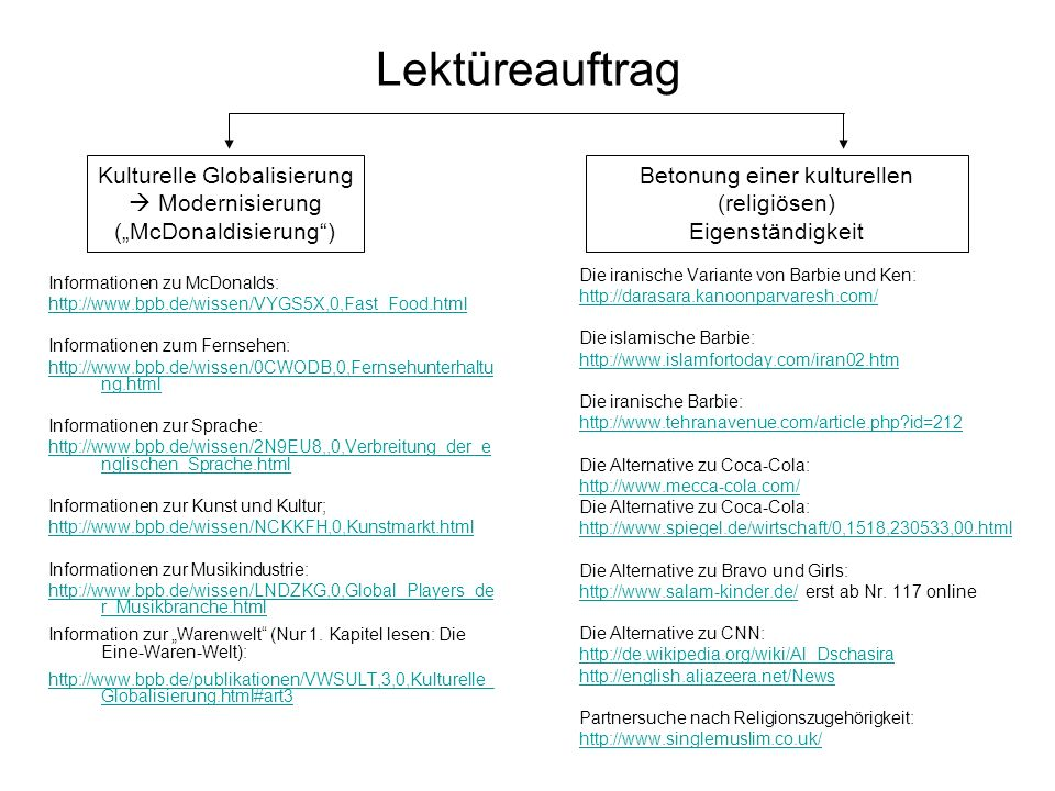 Lektüreauftrag Informationen zu McDonalds: http://www.bpb.de/wissen/VYGS5X,0,Fast_Food.html Informationen zum Fernsehen: http://www.bpb.de/wissen/0CWO