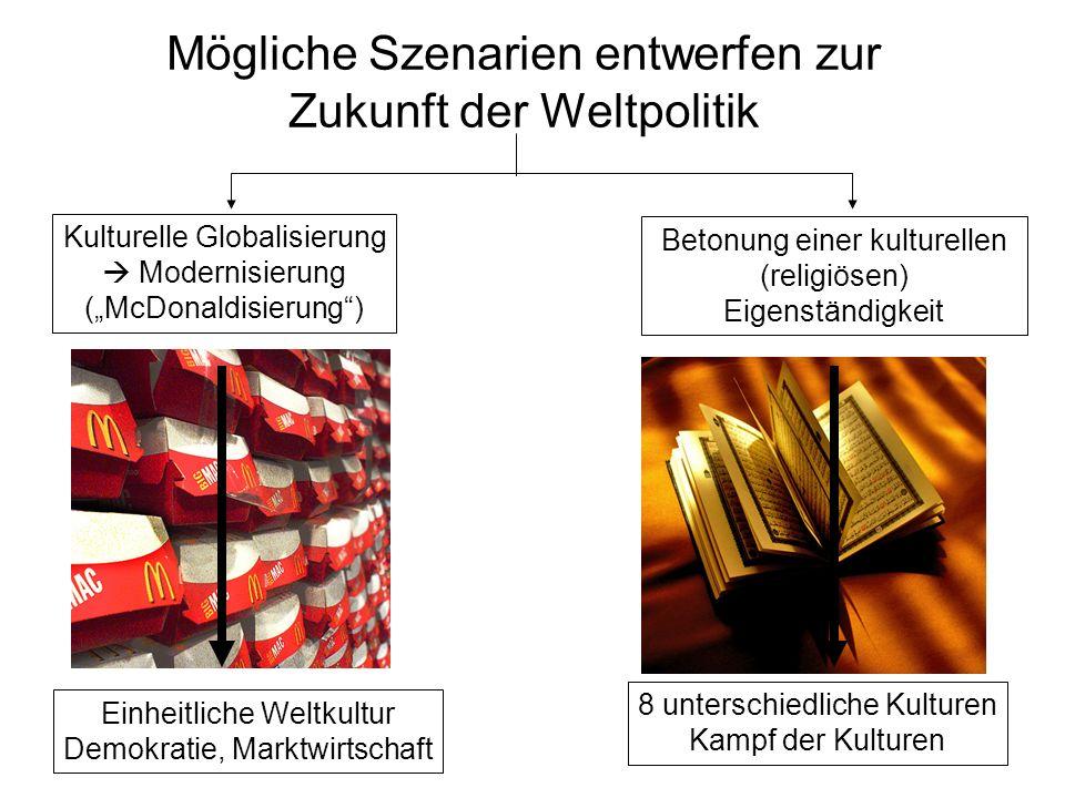 Mögliche Szenarien entwerfen zur Zukunft der Weltpolitik Betonung einer kulturellen (religiösen) Eigenständigkeit 8 unterschiedliche Kulturen Kampf der Kulturen Einheitliche Weltkultur Demokratie, Marktwirtschaft Kulturelle Globalisierung Modernisierung (McDonaldisierung)