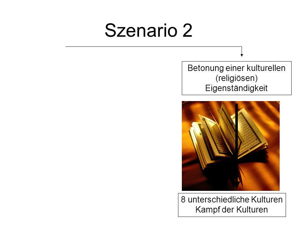Szenario 2 8 unterschiedliche Kulturen Kampf der Kulturen Betonung einer kulturellen (religiösen) Eigenständigkeit