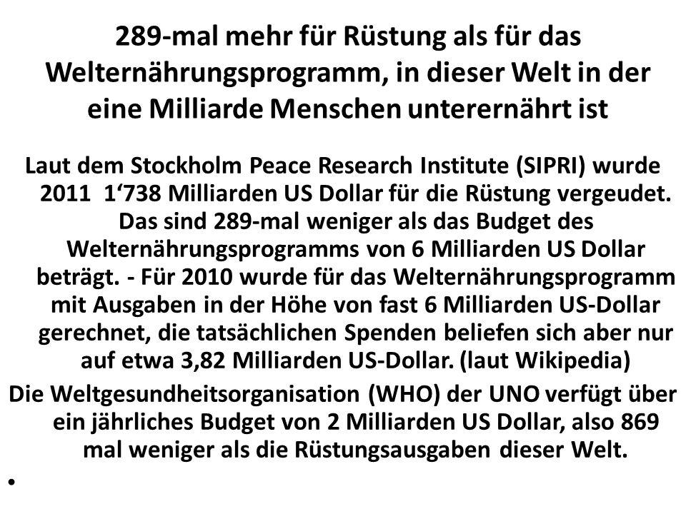 289-mal mehr für Rüstung als für das Welternährungsprogramm, in dieser Welt in der eine Milliarde Menschen unterernährt ist Laut dem Stockholm Peace R
