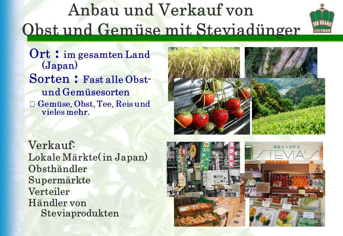 Anbau und Verkauf von Obst und Gemüse mit Steviadünger Ort im gesamten Land (Japan) Sorten Fast alle Obst- und Gemüsesorten Gemüse, Obst, Tee, Reis un