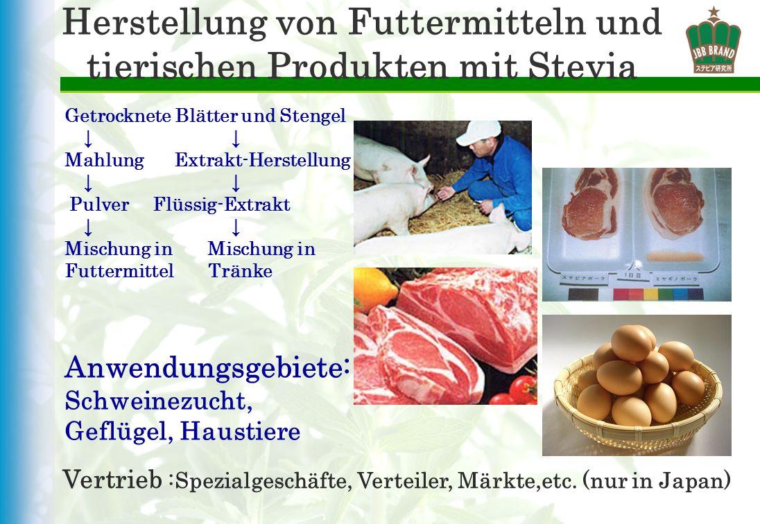 Herstellung von Futtermitteln und tierischen Produkten mit Stevia Getrocknete Blätter und Stengel Mahlung Extrakt-Herstellung Pulver Flüssig-Extrakt M
