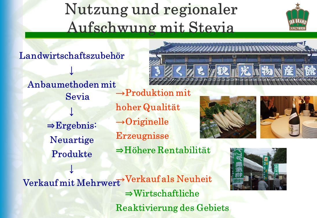 Nutzung und regionaler Aufschwung mit Stevia Landwirtschaftszubehör Anbaumethoden mit Sevia Ergebnis: Neuartige Produkte Verkauf mit Mehrwert Produkti