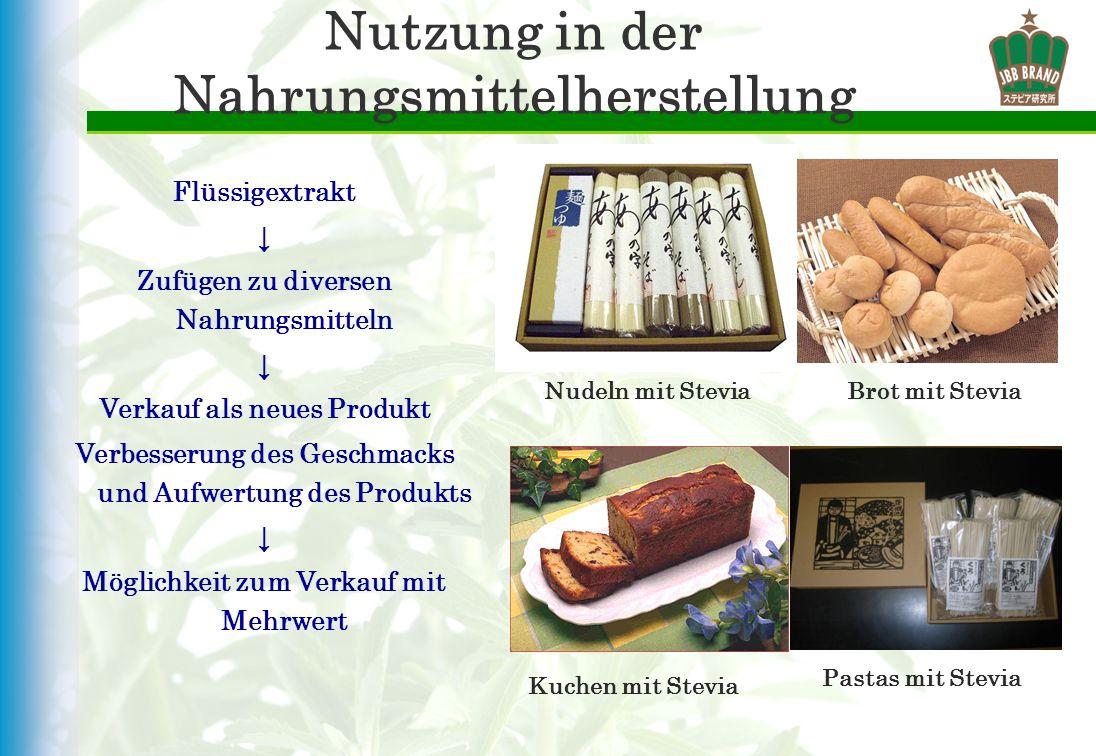 Nutzung in der Nahrungsmittelherstellung Flüssigextrakt Zufügen zu diversen Nahrungsmitteln Verkauf als neues Produkt Verbesserung des Geschmacks und