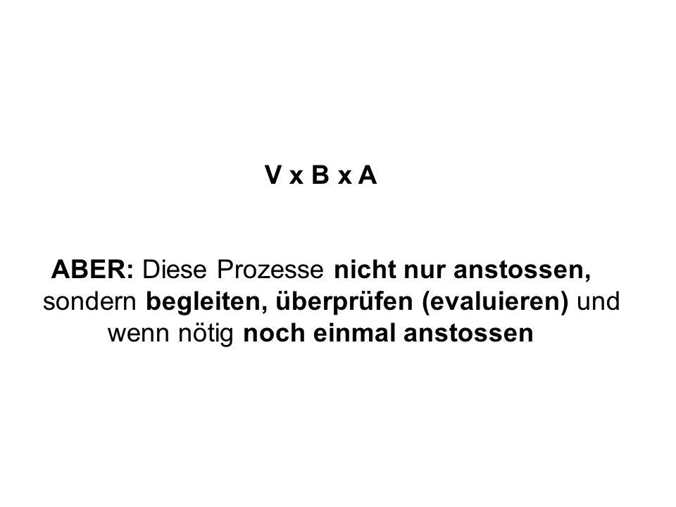 V x B x A ABER: Diese Prozesse nicht nur anstossen, sondern begleiten, überprüfen (evaluieren) und wenn nötig noch einmal anstossen
