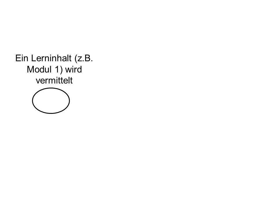 Ein Lerninhalt (z.B. Modul 1) wird vermittelt