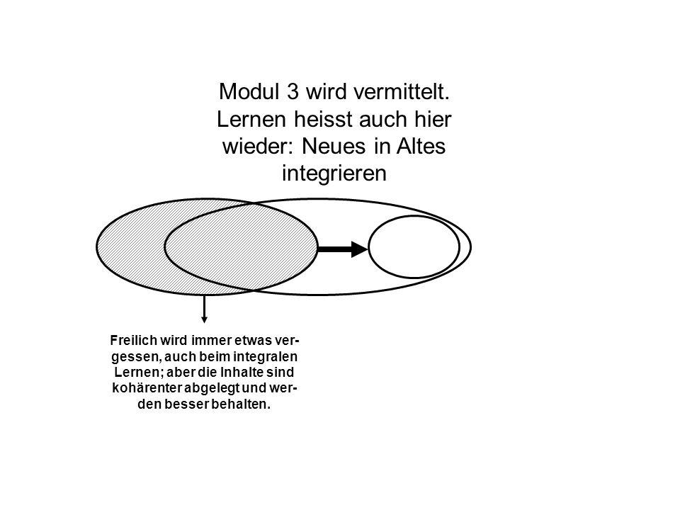 Modul 3 wird vermittelt. Lernen heisst auch hier wieder: Neues in Altes integrieren Freilich wird immer etwas ver- gessen, auch beim integralen Lernen