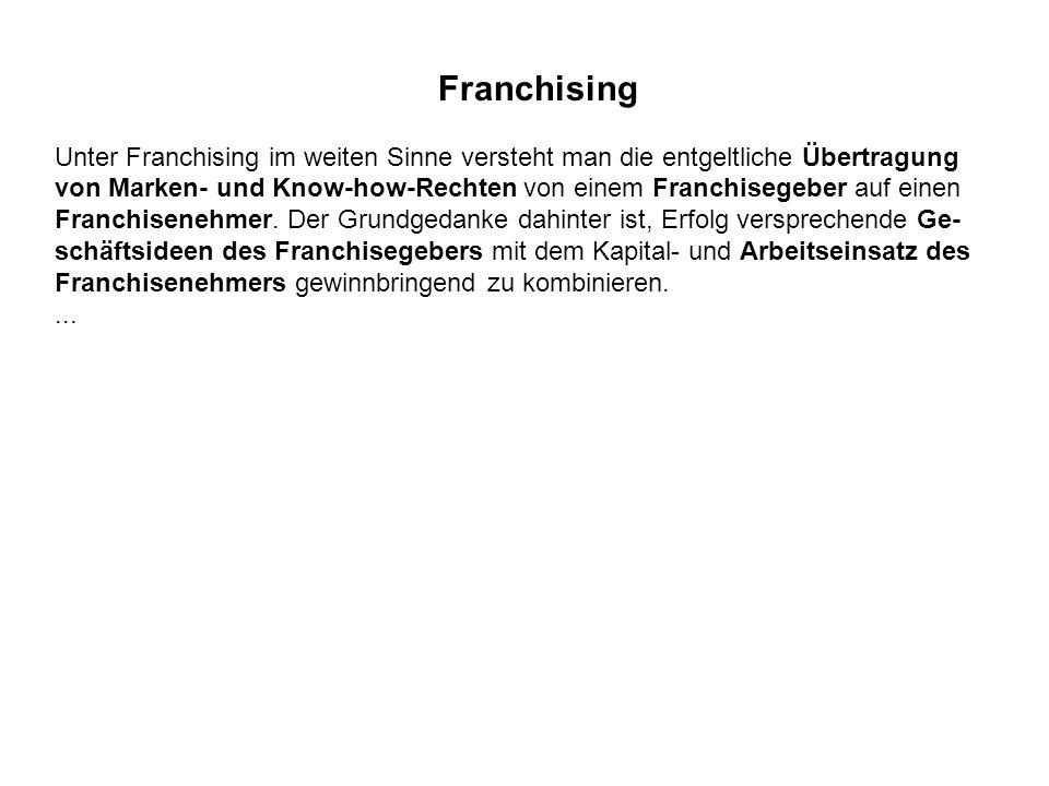 Franchising Unter Franchising im weiten Sinne versteht man die entgeltliche Übertragung von Marken- und Know-how-Rechten von einem Franchisegeber auf