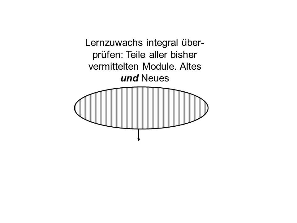 Lernzuwachs integral über- prüfen: Teile aller bisher vermittelten Module. Altes und Neues