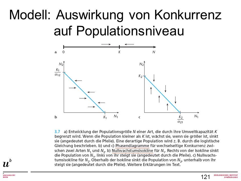 Modell: Auswirkung von Konkurrenz auf Populationsniveau 121