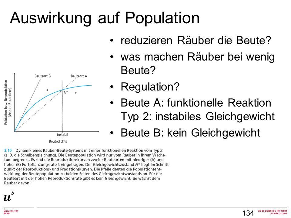 Auswirkung auf Population 134 reduzieren Räuber die Beute.