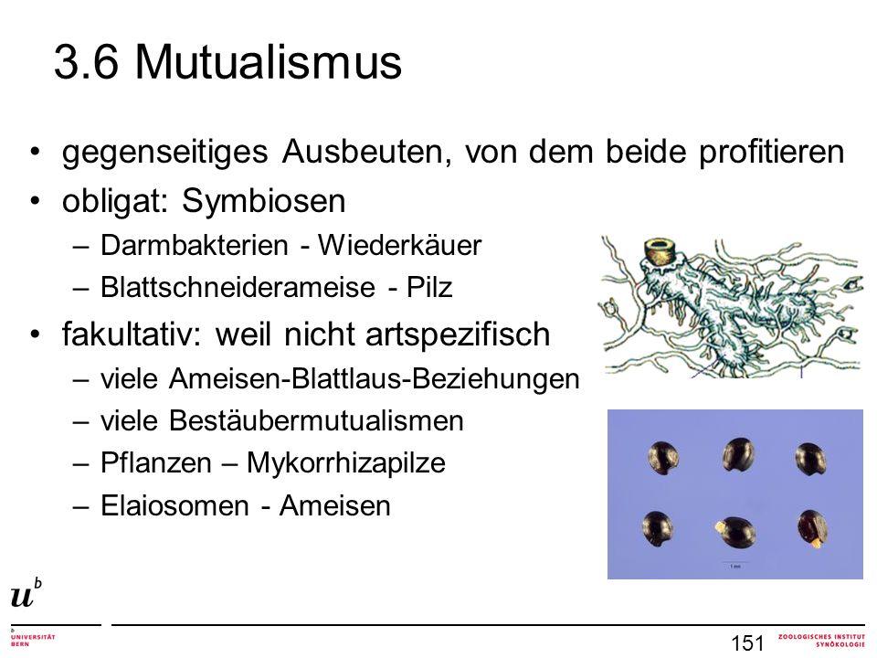 3.6 Mutualismus gegenseitiges Ausbeuten, von dem beide profitieren obligat: Symbiosen –Darmbakterien - Wiederkäuer –Blattschneiderameise - Pilz fakultativ: weil nicht artspezifisch –viele Ameisen-Blattlaus-Beziehungen –viele Bestäubermutualismen –Pflanzen – Mykorrhizapilze –Elaiosomen - Ameisen 151