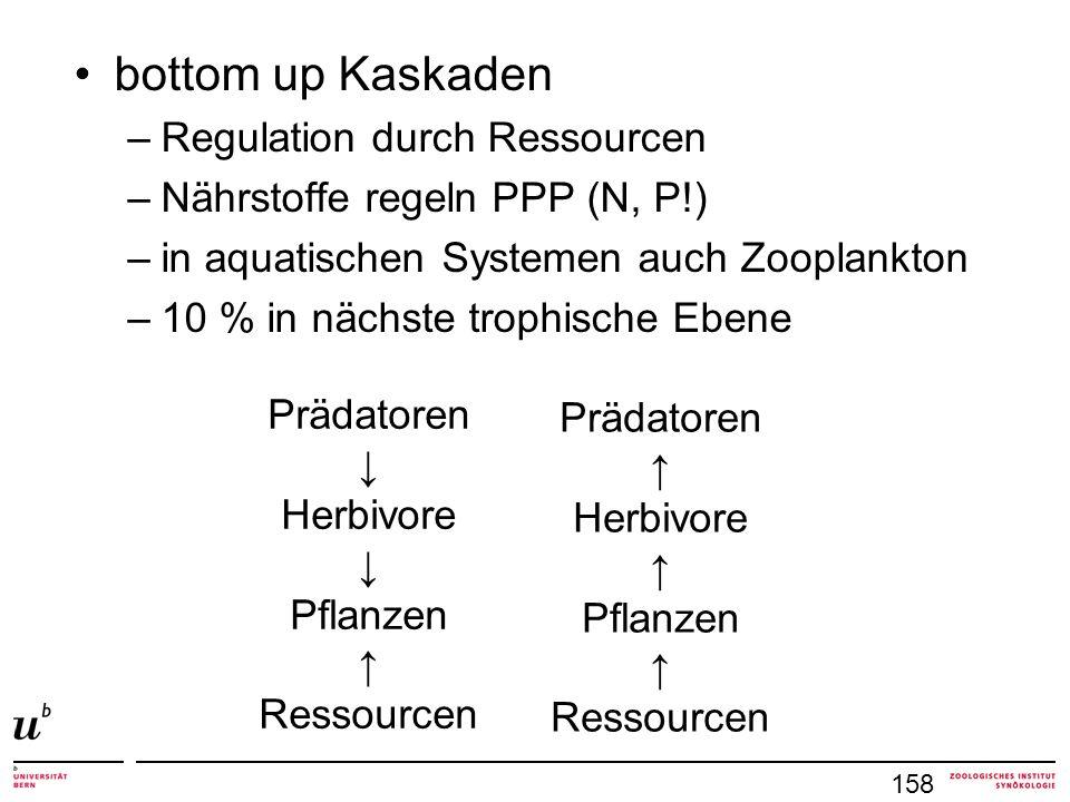 bottom up Kaskaden –Regulation durch Ressourcen –Nährstoffe regeln PPP (N, P!) –in aquatischen Systemen auch Zooplankton –10 % in nächste trophische Ebene 158 Prädatoren Herbivore Pflanzen Ressourcen Prädatoren Herbivore Pflanzen Ressourcen